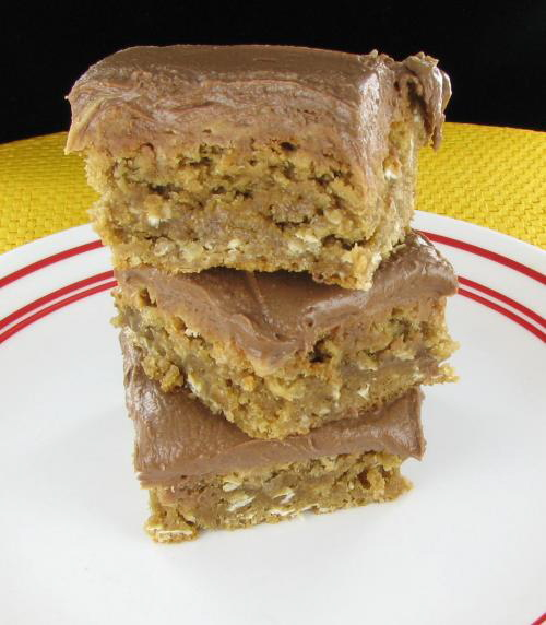 Peanut butter oatmeal bars with chocolate frosting
