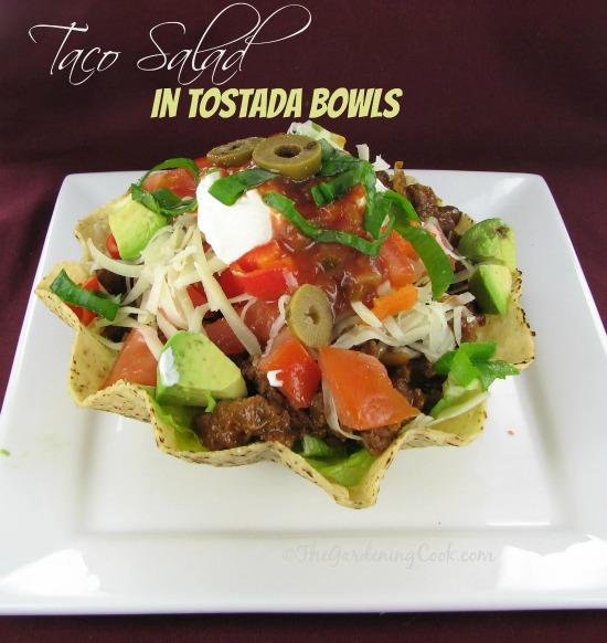 Taco salad in Tostada bowls #mexicancooking