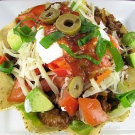 Delicious taco salad in tosdada bowls