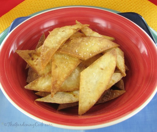 DIY homemade fried tortilla chips