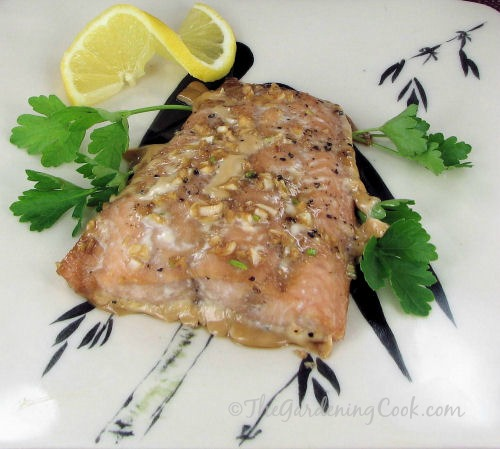Baked Salmon with maple and soy sauceglaze