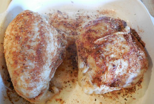 Precooked chicken with the BBQ smoky dry rub
