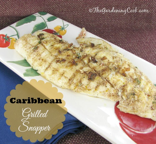 Caribbean Snapper with grilled pineapple. Get the recipe and details of a FREE Gourmet Grillware Giveaway worth $220 at thegardeningcook.com/carribean-grilled-snapper-pineapple-great-camping-recipe