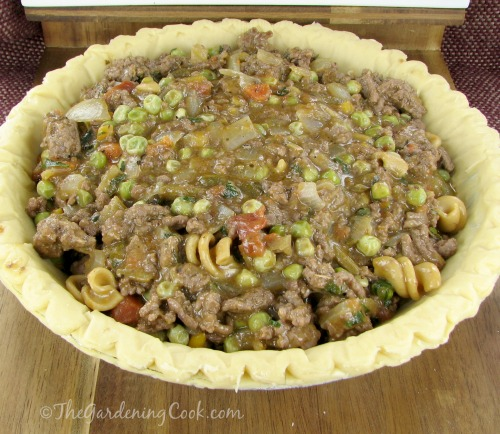 Savory cheeseburger pie is an American take on the traditional British Shepherd's pie