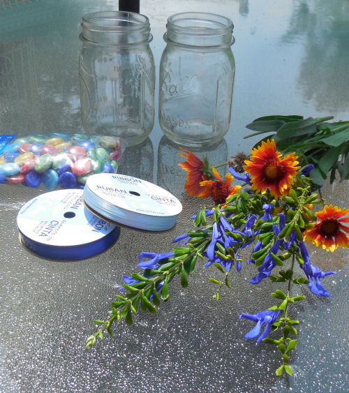 Supplies for the mason jar project