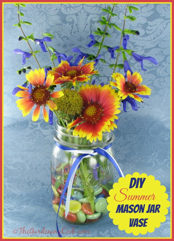 This DIY summer mason jar vase project is perfect for my summer brunch table. See the tutorial at thegardeningcook.com/diy-mason-jar-vase