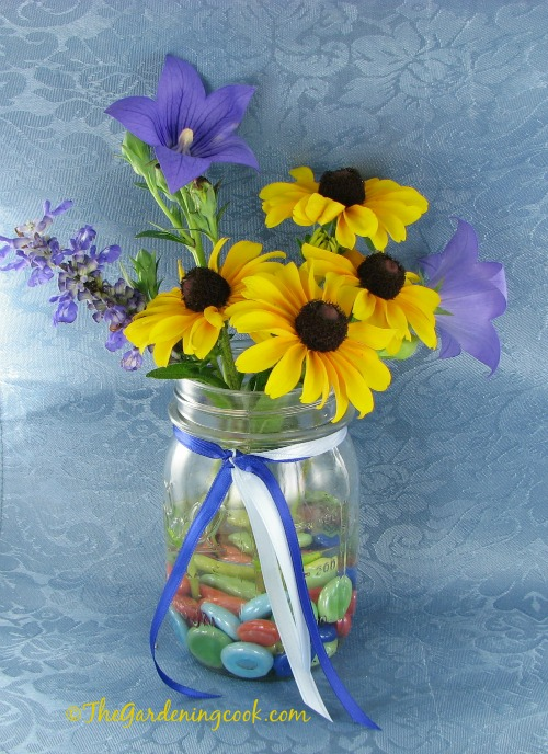 Black eyed susan, mealy cup sage and moon flower make a nice mason jar vase.