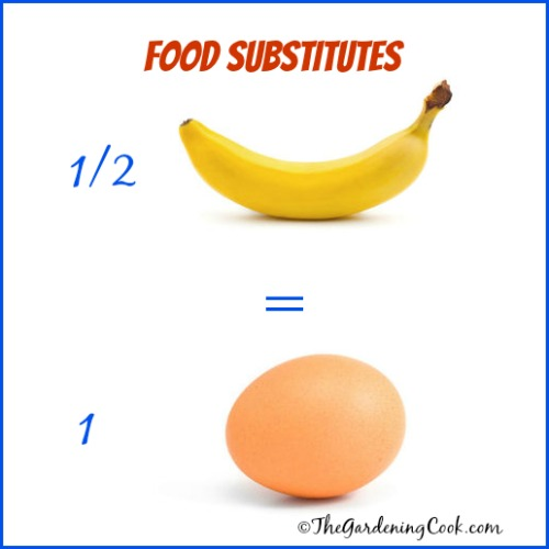 1/2 of a mashed banana = 1 egg in baked goods like brownies