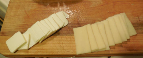 thinly sliced butter and cheese