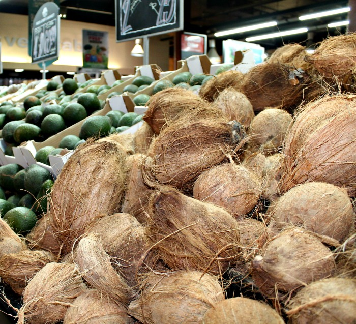 Fresh coconuts at the supermarket