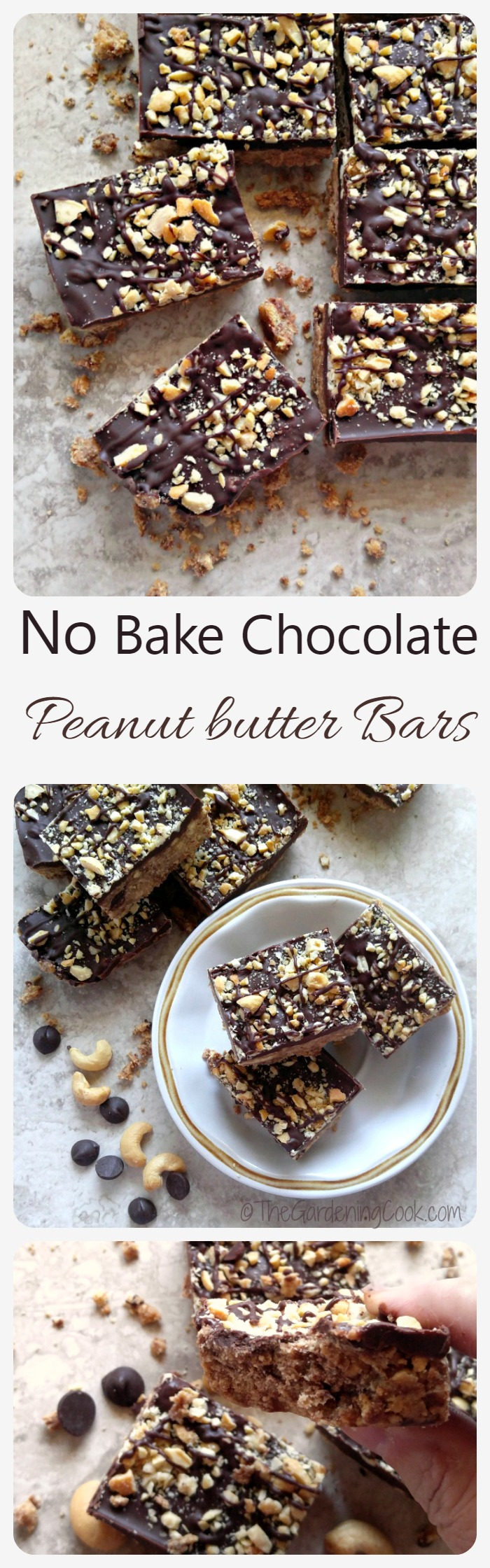 These no bake chocolate peanut butter bars are crunchy, and sweet and creamy. They come together quickly and will be great to give you a Reese's peanut butter cup fix! thegardeningcook.com