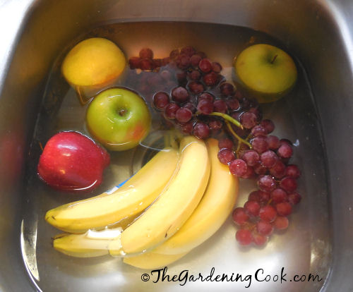 Hydrogen peroxide and water makes a great vegetable soak.
