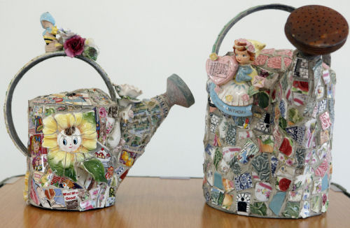 Mosaic watering cans