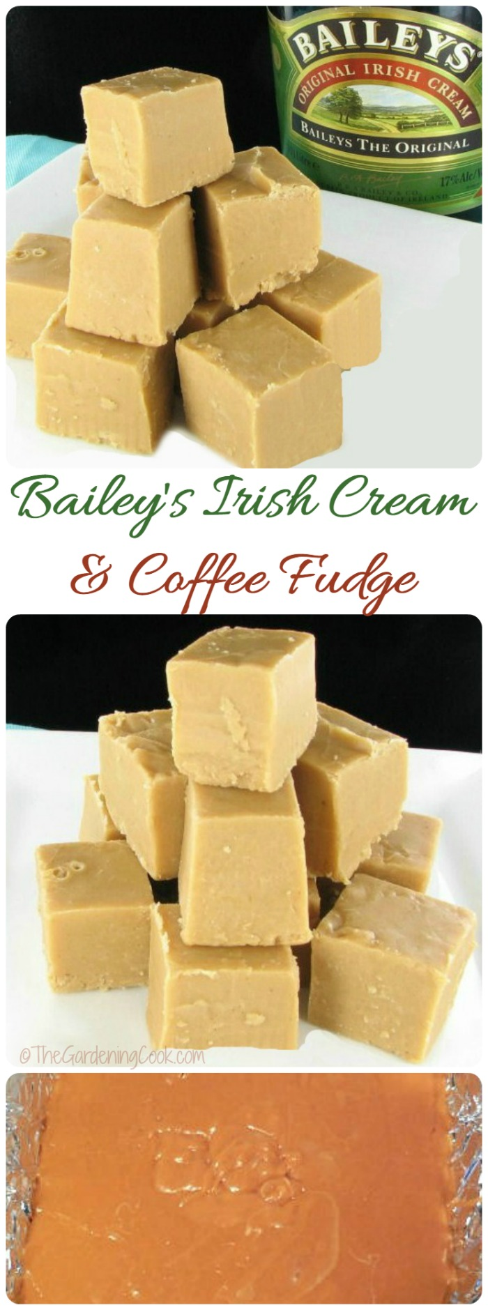This Irish Cream fudge is the perfect sweet treat for your holiday table. It is made with Bailey's Irish cream and coffee. It is delicious and so easy to make, too.