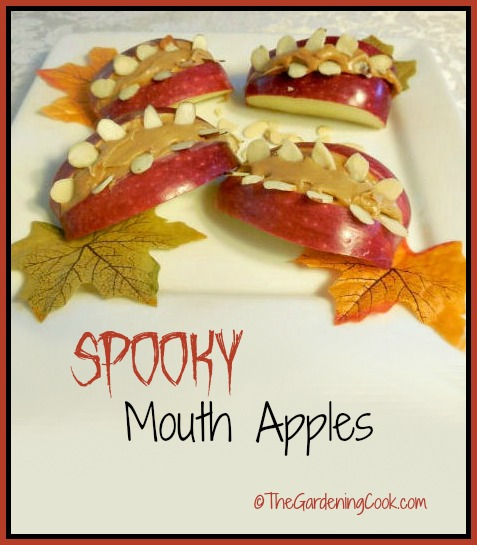 Spooky Mouth Apples - a Halloween healthy snack
