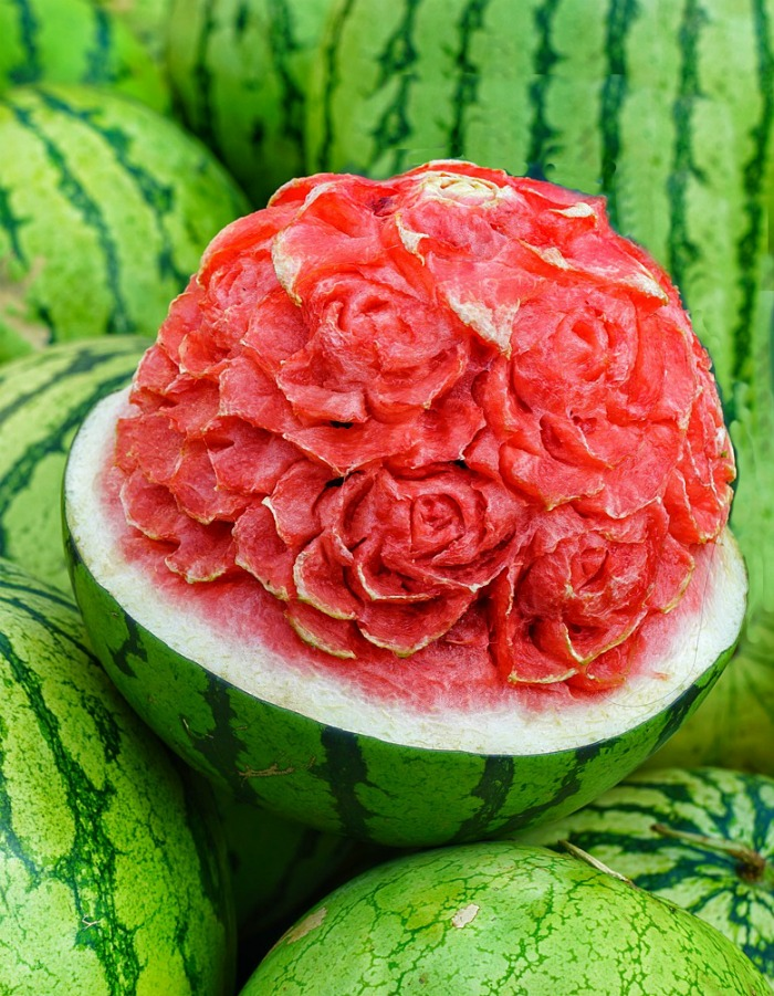 Watermelon carving of a flower