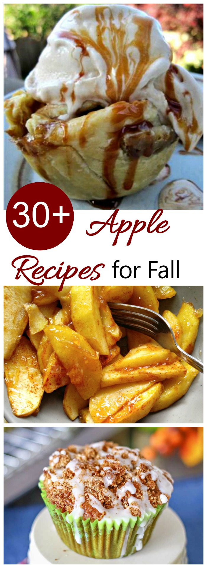 Use the bounty of autumn's apples with one of these 30+ apple recipes. From side dishes, to main courses and desserts, we have you covered. #applerecipes #fallrecipes