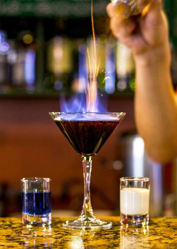 Setting a drink on fire