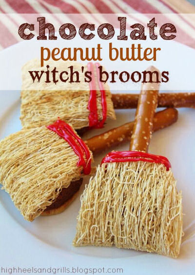 witches peanut butter chocolate broomsticks from highheelsandgrills.com