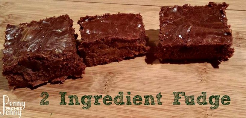 2 ingredient fudge from pennypincherjenny.com/