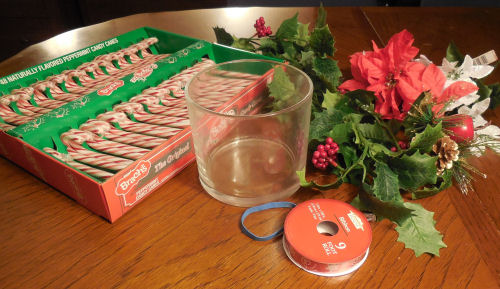 materials for the candy cane vase