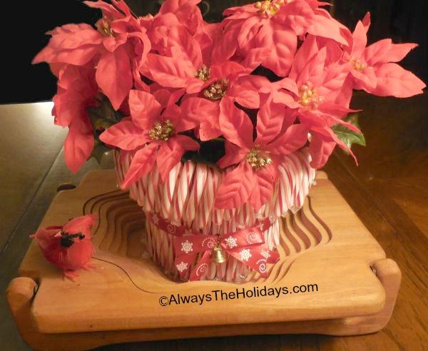 finished candy cane vase display