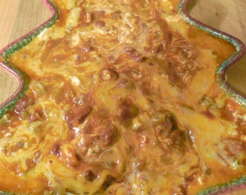 close up of the 4 layered Mexican dip