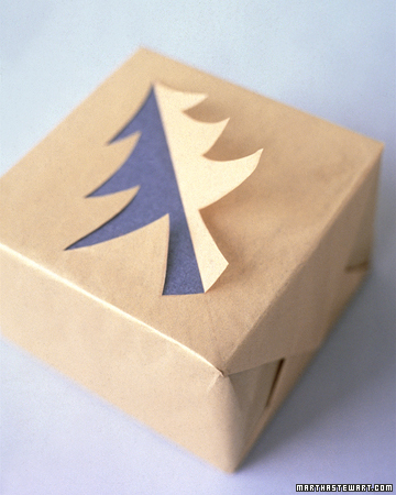 Use cut outs to decorate a package inexpensively from marthastewart.com