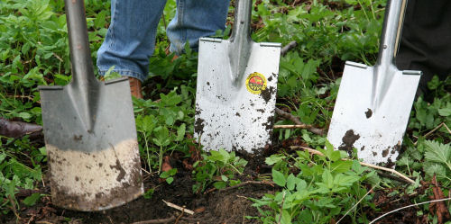 winterize garden tools. Remove dirt from shovel and spades