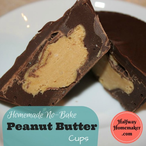Home made no bake peanut butter cups made in a muffin tin from halfwayhomemaker.com
