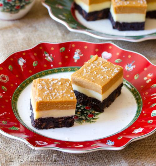 Satlted Caramel eggnog fudge brownies from aspicyperspective.com/