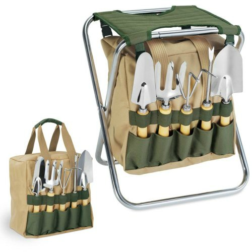 Gardening Gift Guide Idea - 10 tool set with folding seat and tote bag