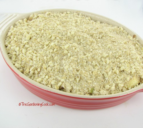 Gluten free apple crumble ready to cook.