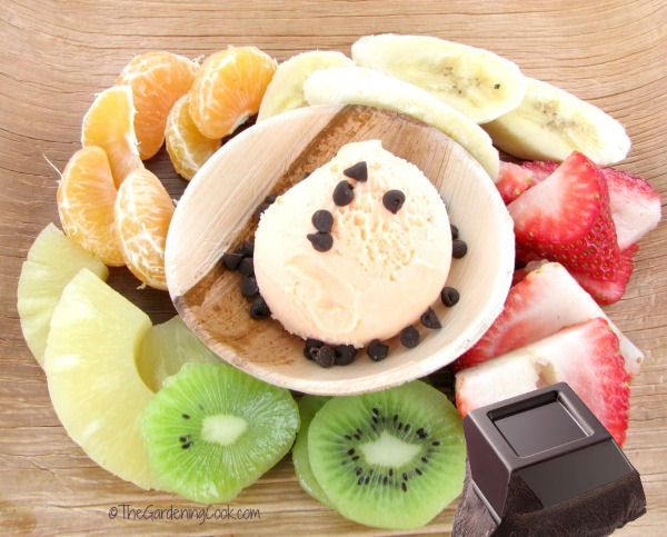 Asian fruit plate and dark chocolate