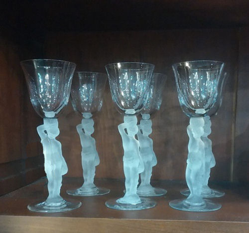 Antique nude stemmed sherry glasses