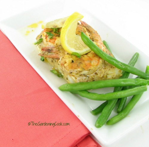Oven baked cod and shrimp with lemon mustard sauce