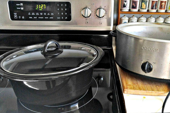 Use the liner of a crock pot to reheat the food in the oven (not in the crock pot itself)
