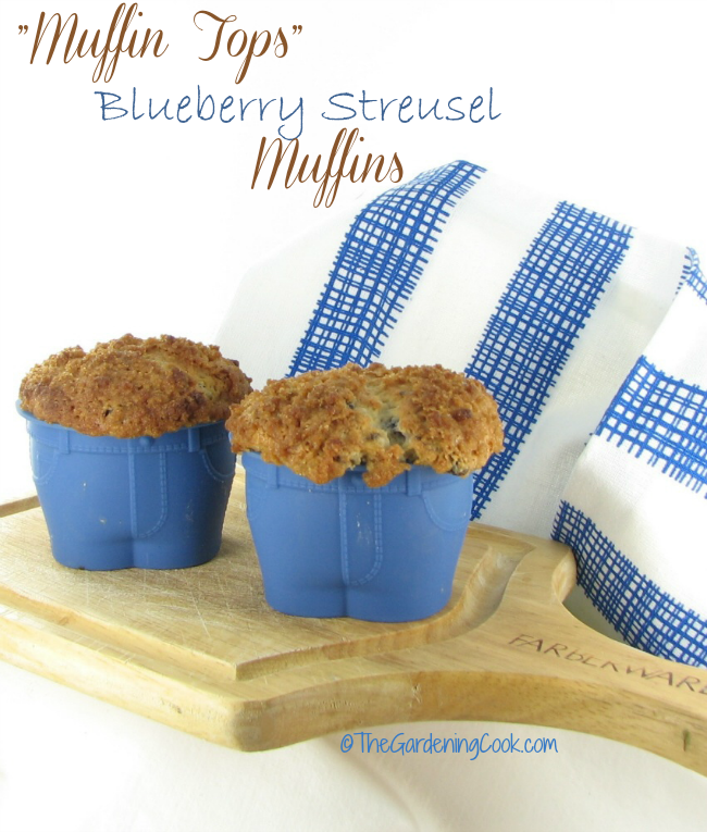 "How adorable are these ""muffin Top"" blueberry streusel muffins?"