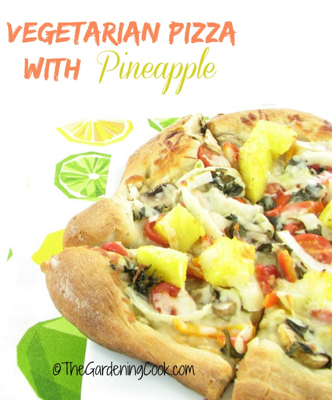 Vegetarian Pizza with Pineapple and Basil