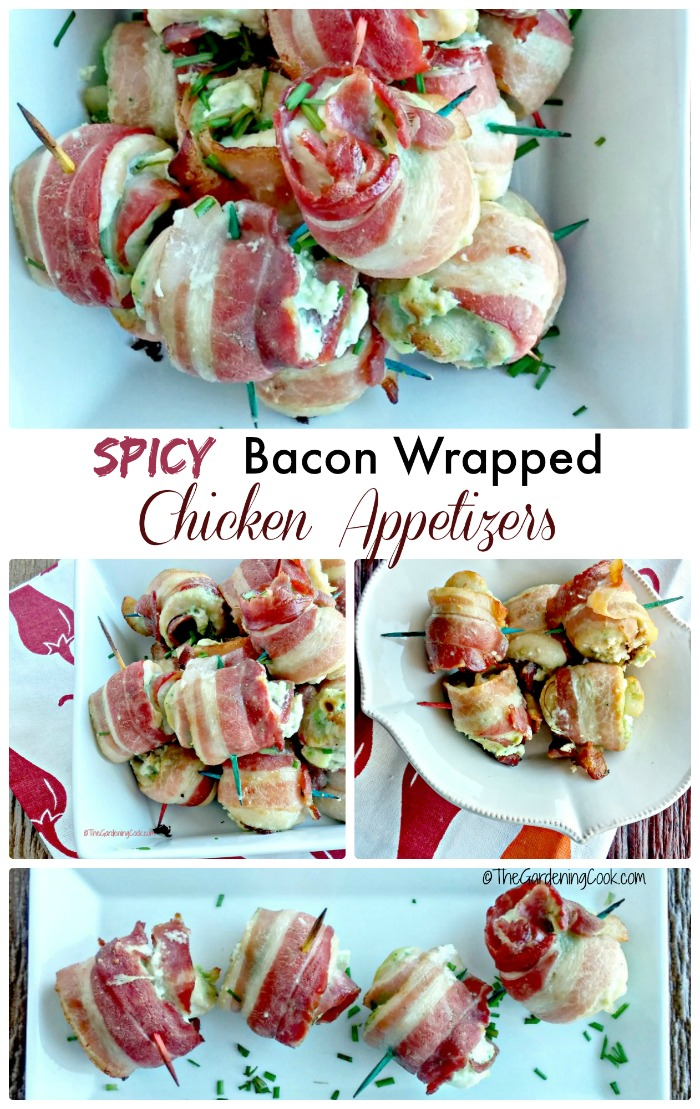 These spicy bacon wrapped chicken appetizers are perfect to celebrate Cinco de Mayo or the Superbowl.