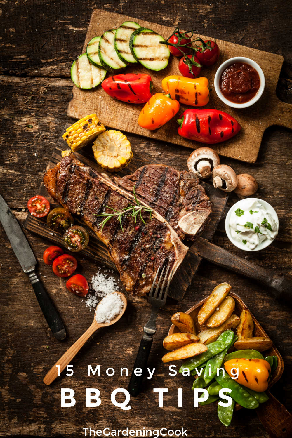 Scene of meats and vegetables that have been grilled and text reading 15 Money Saving BBQ tips.
