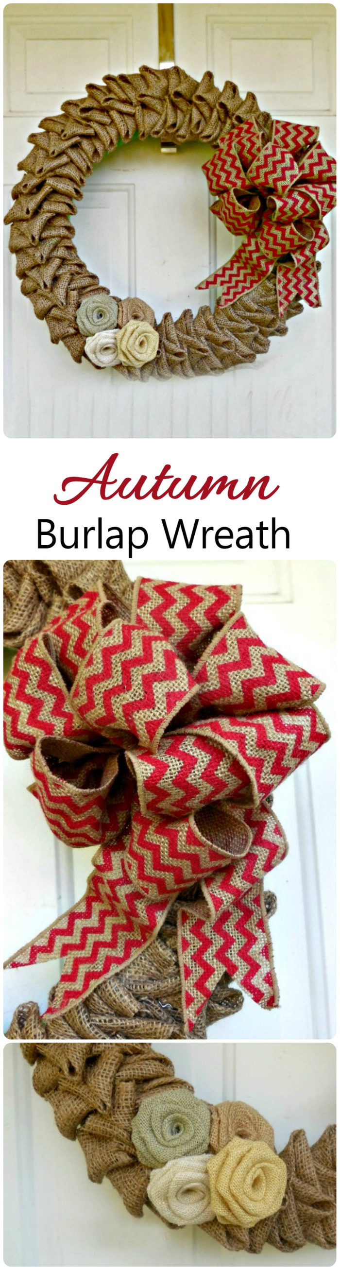 This autumn burlap wreath comes together quickly and makes a lovely door decoration.