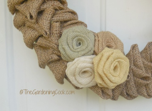Close up of the burlap flowers