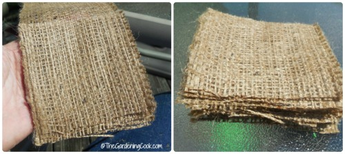 Cut your 4 inch burlap squares