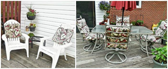 Relaxing near the deck vegetable garden