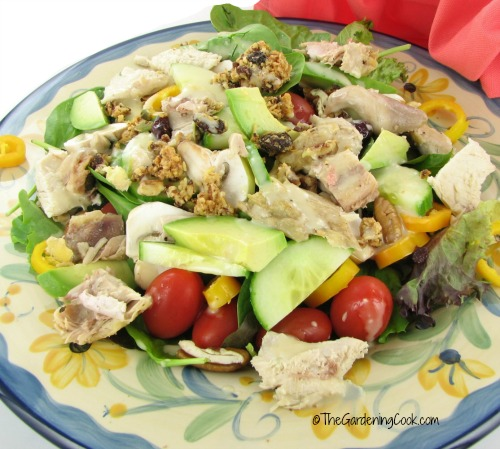 Paleo chicken salad with ginger cilantro dressing