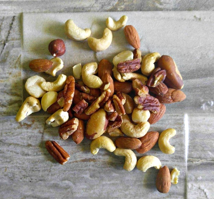Add raw mix nuts to salads instead of croutons for crunch