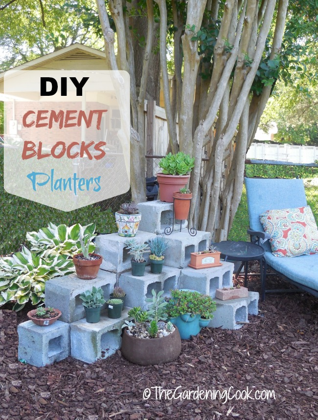 Diy cement blocks plant shelf the gardening cook for Cinder block plant shelf