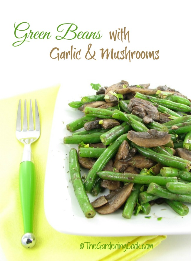 This recipe for green beans with garlic and mushrooms uses a light wine and some coriander for flavoring. Super easy and so delicious.