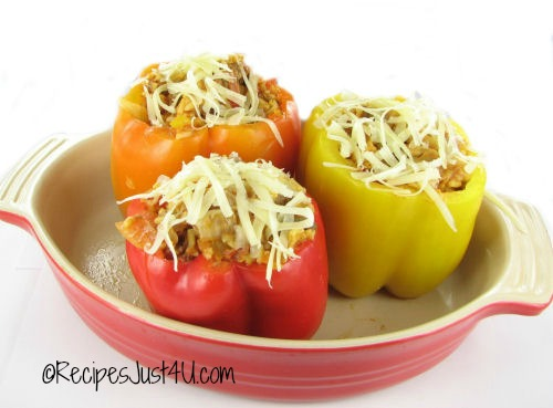Pizza stuffed fresh peppers